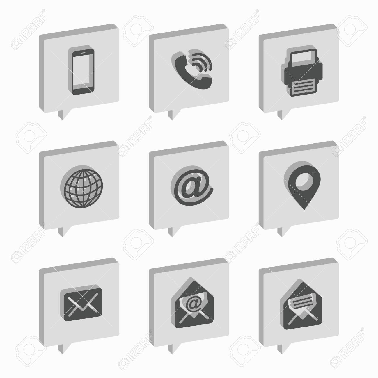 Isometric bubbles business card icon set web icons royalty free business card icon set web icons stock vector 90577494 reheart Images