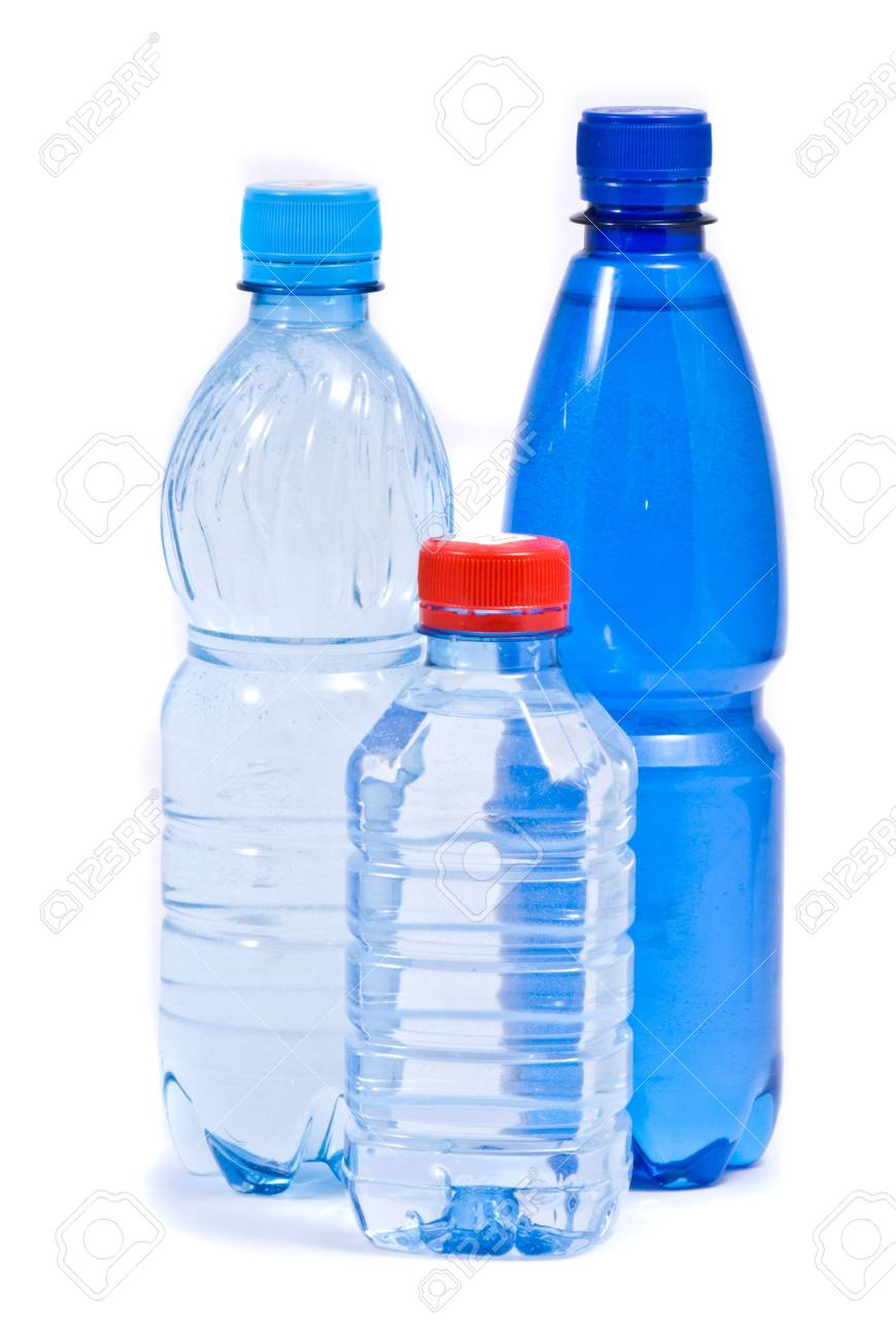 Three bottle of water isolated on the white background Stock Photo - 7395205