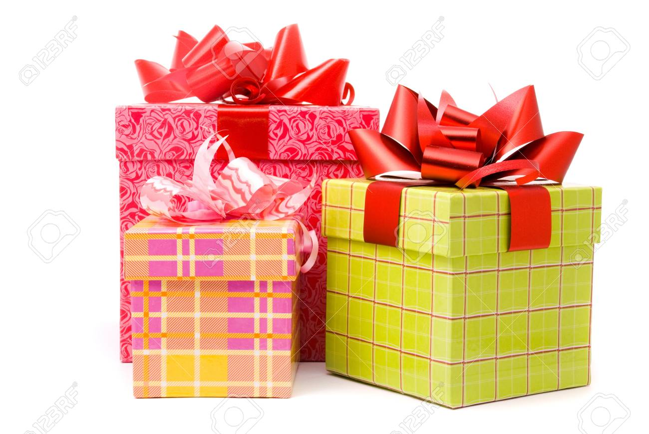 Three gift box studio shot Stock Photo - 7503599