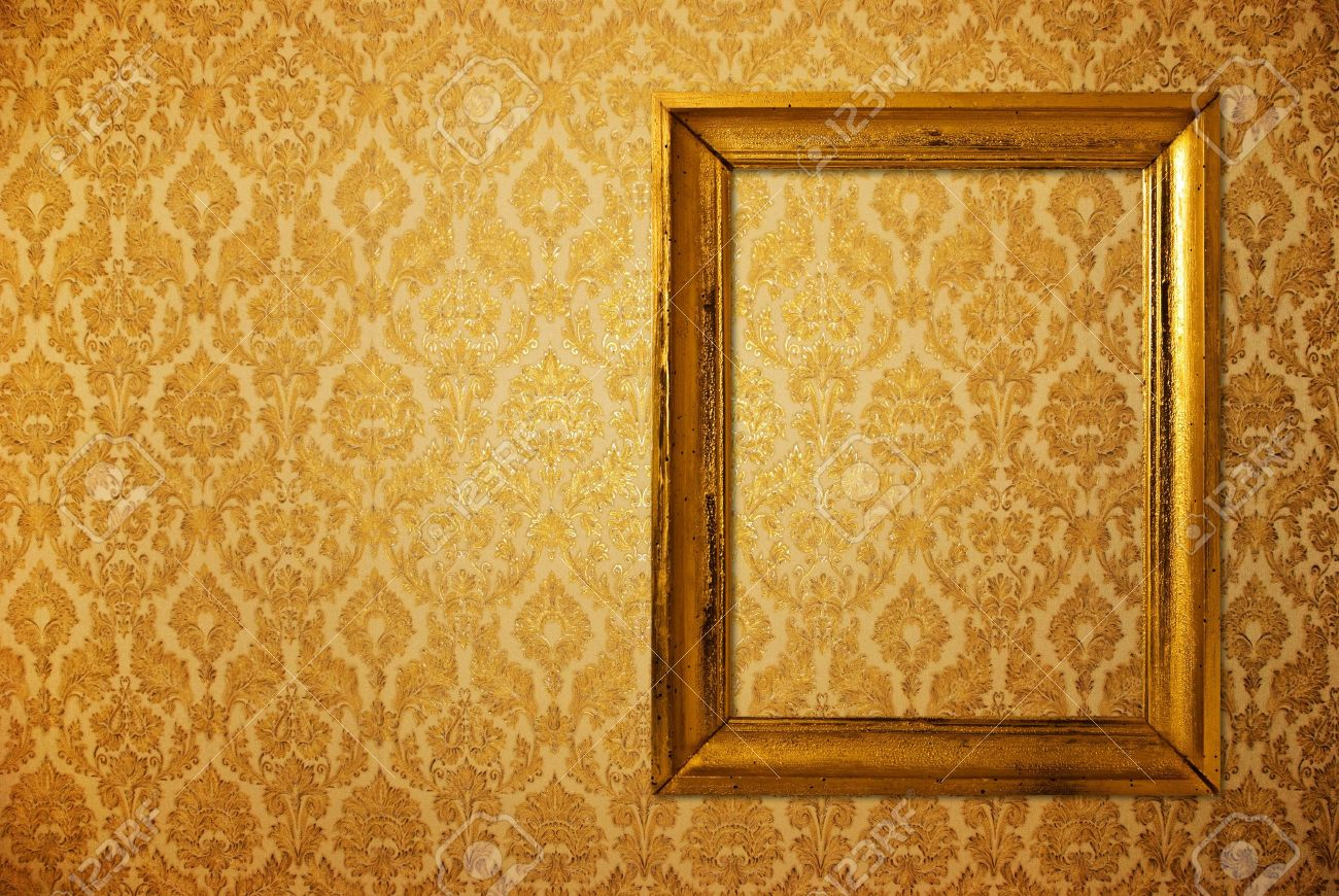 Vintage Frame Over Golden Wallpaper Stock Photo, Picture And Royalty ...