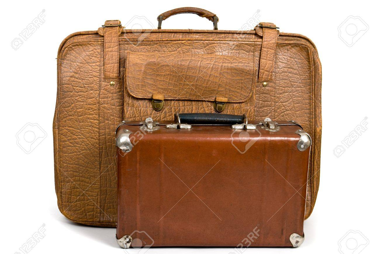 Old Suitcases Old Suitcases Isolated On A White Background Stock Photo Picture