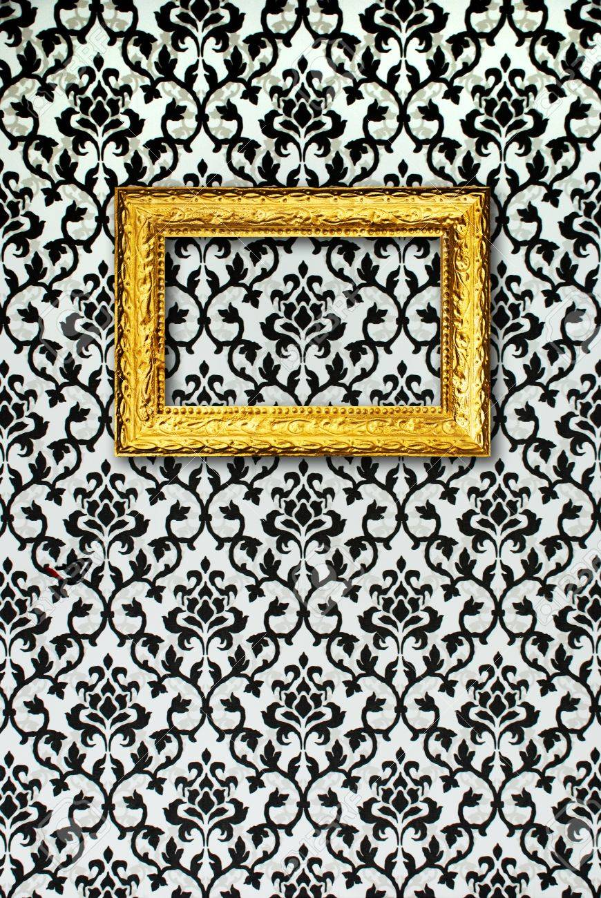 Gold Frame On A Black And White Wallpaper Stock Photo Picture And