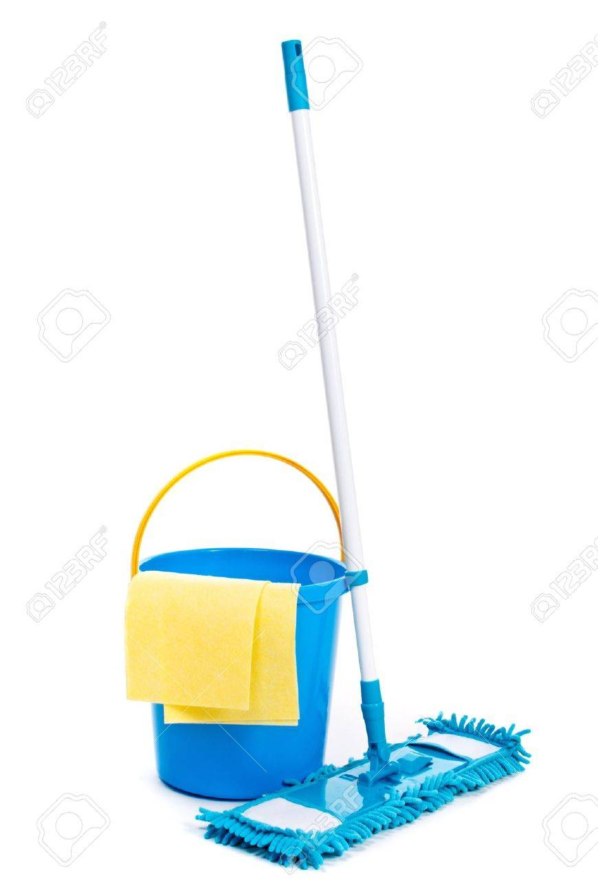 Mop And Bucket Isolated On White Background Stock Photo Picture