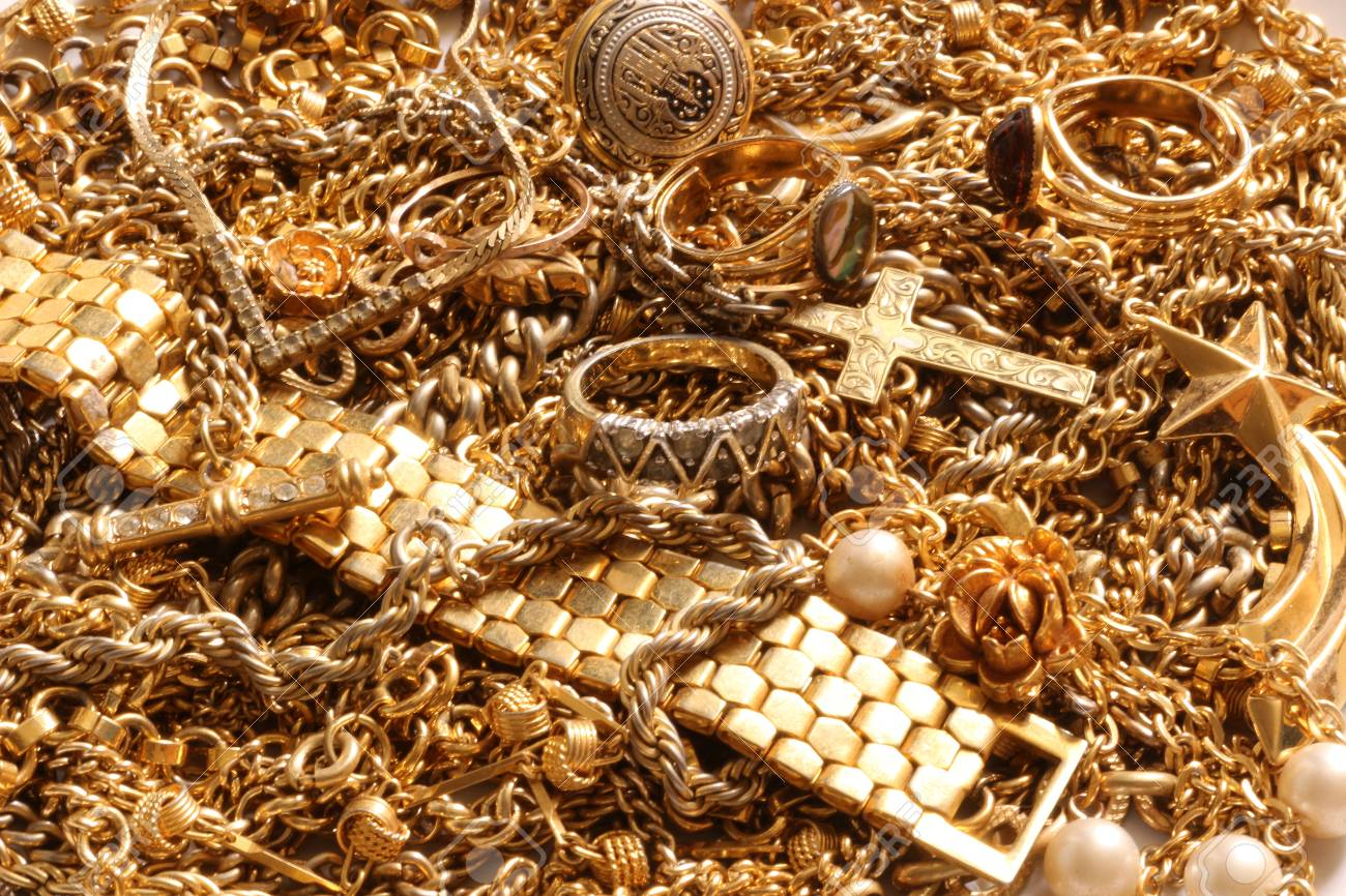 Background Of Various Gold Jewelry Items Stock Photo Picture And Royalty Free Image Image 75247263
