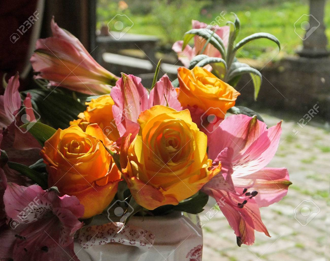Yellow roses and pink lilies flower arrangement stock photo picture stock photo yellow roses and pink lilies flower arrangement mightylinksfo