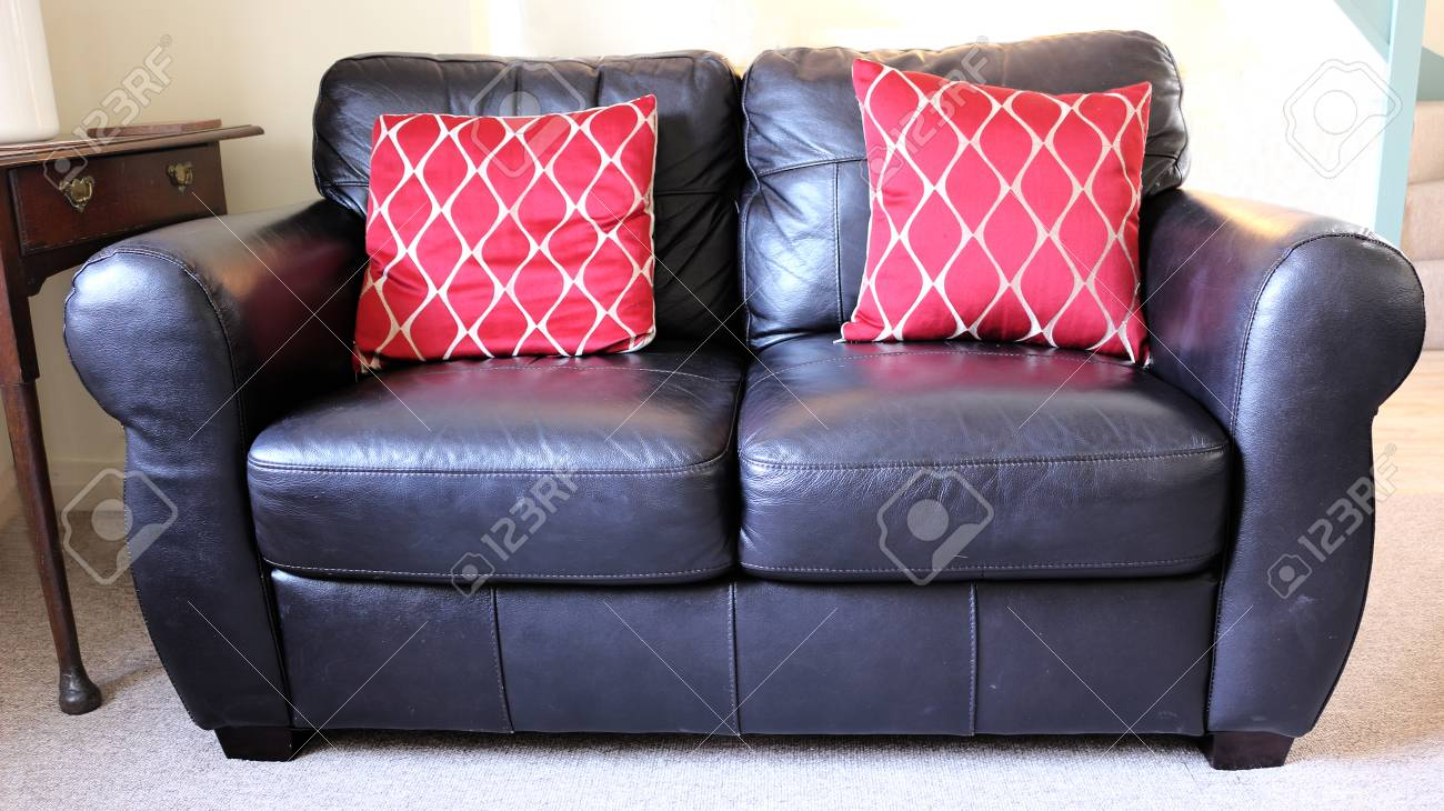 Black Leather Sofa with Red Cushions