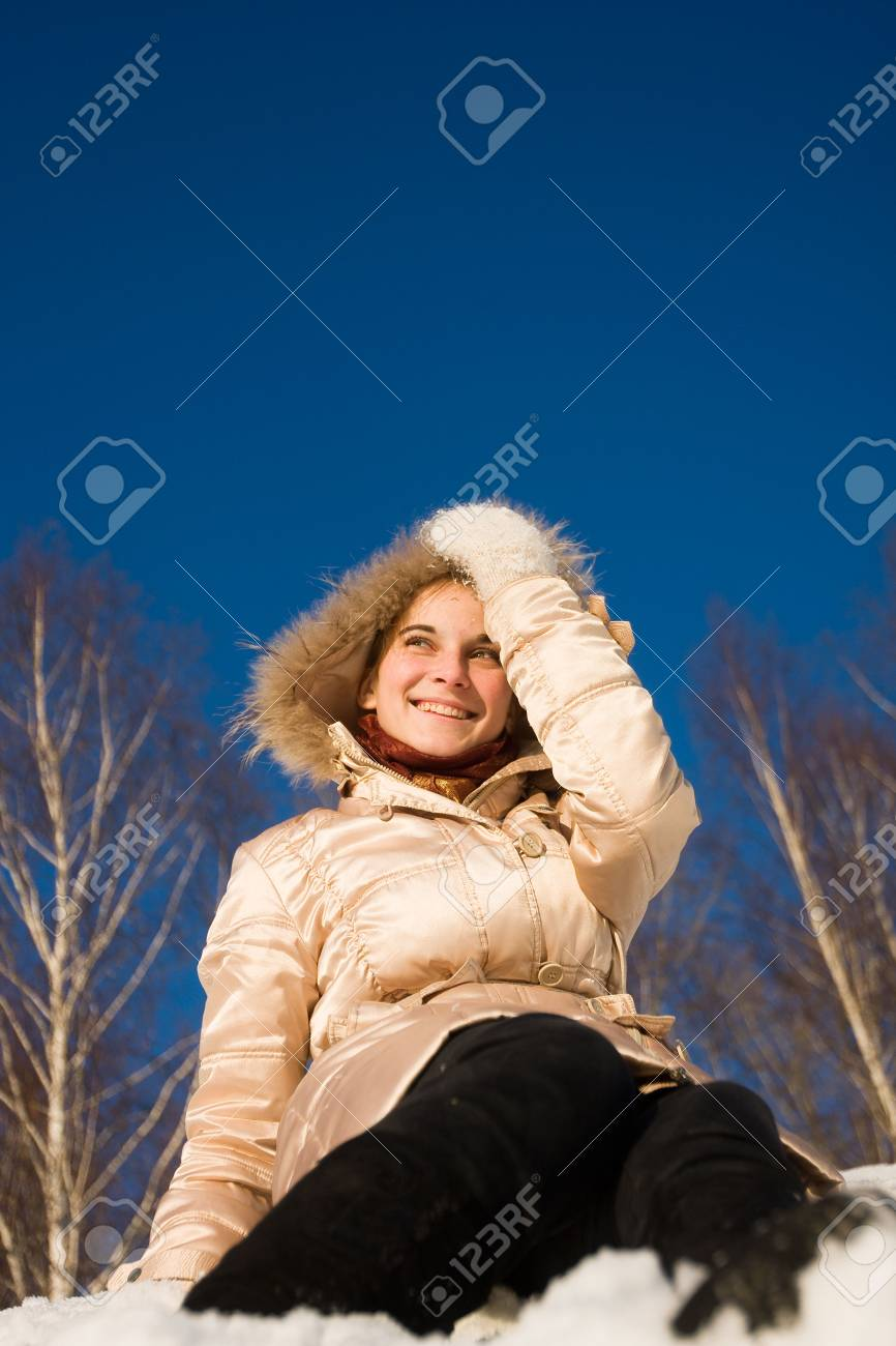 young girl are sitting on the hill Stock Photo - 8664033