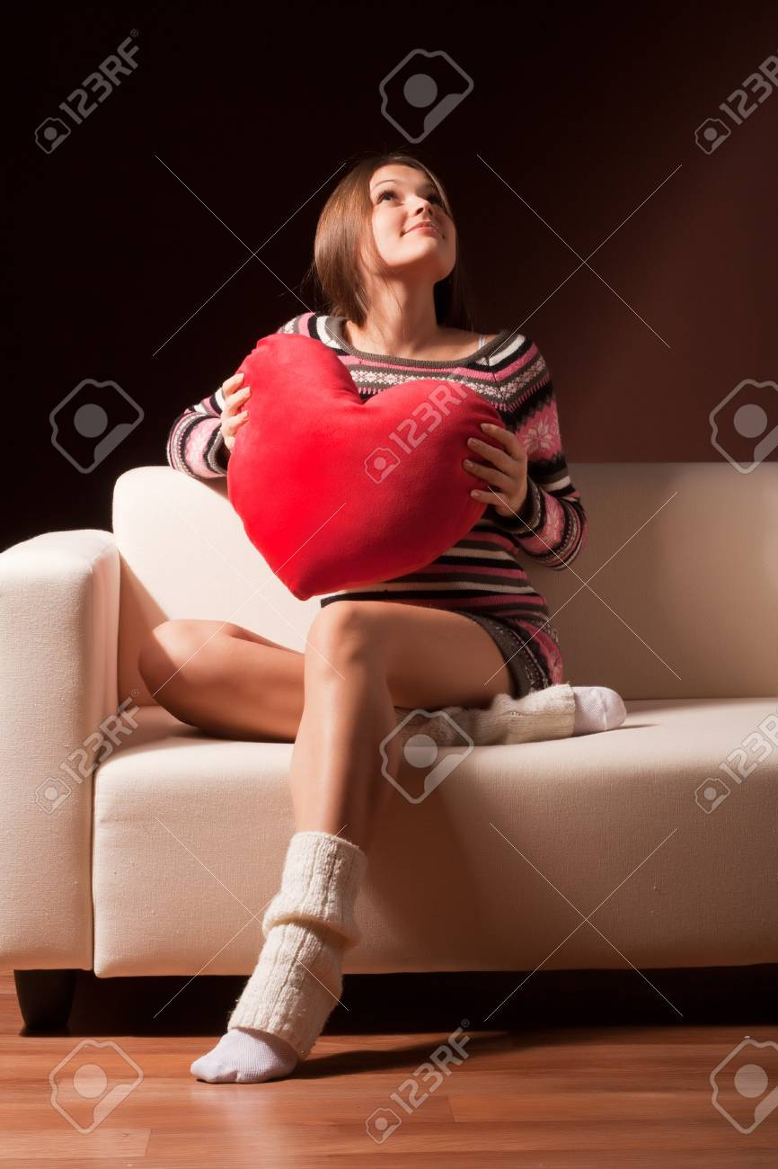 girl with a teddy heart looks up Stock Photo - 8716109
