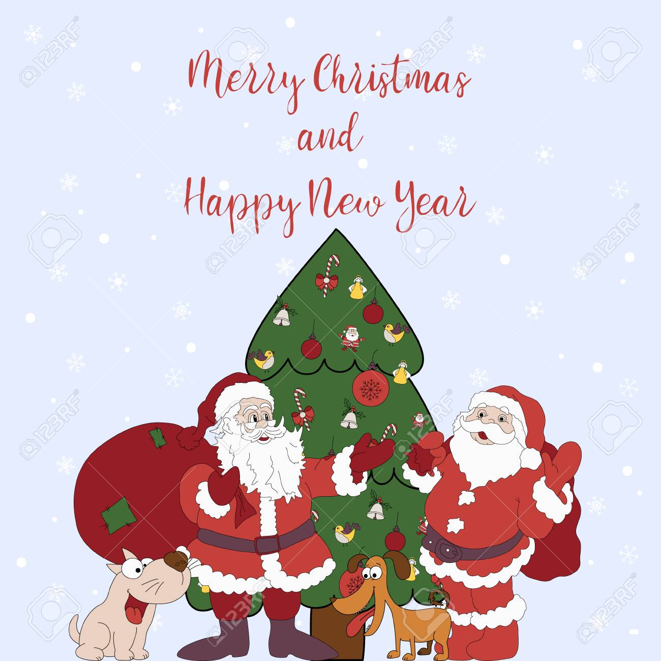 Merry Christmas Puppies.Merry Christmas And Happy New Year Cartoon Greeting Card With