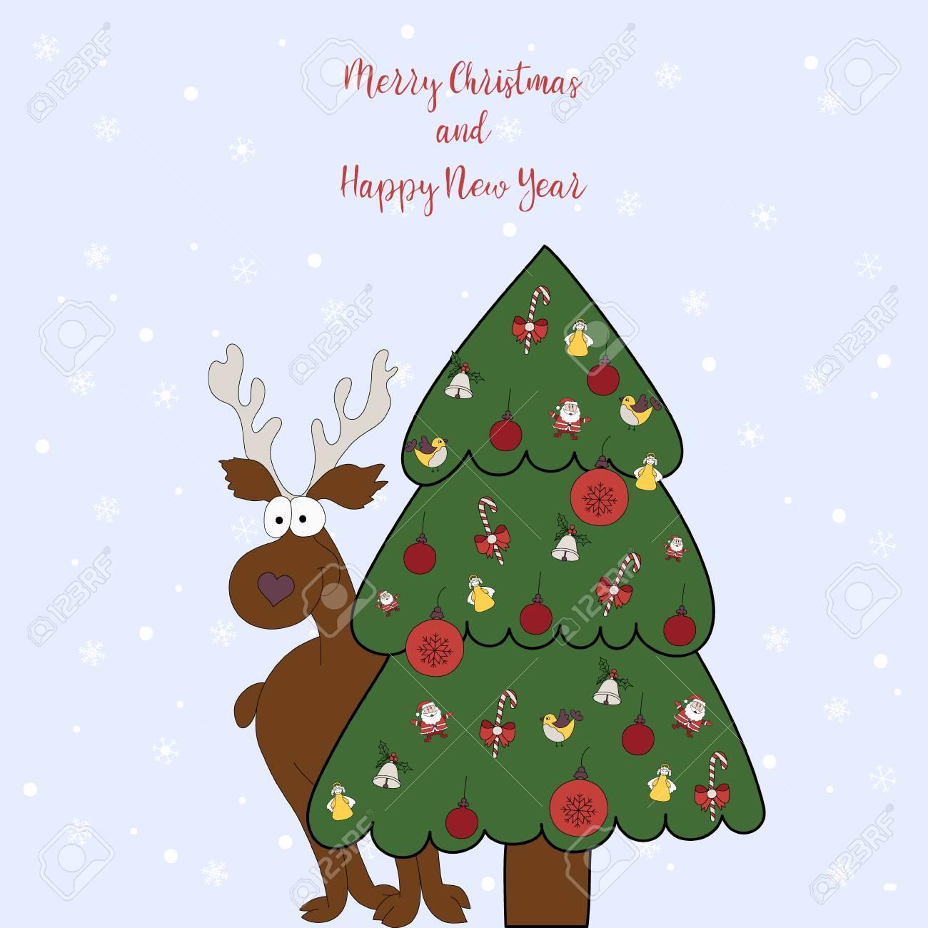 Feliz Natal E Feliz Ano Novo Cartao De Desenho Animado Com Um