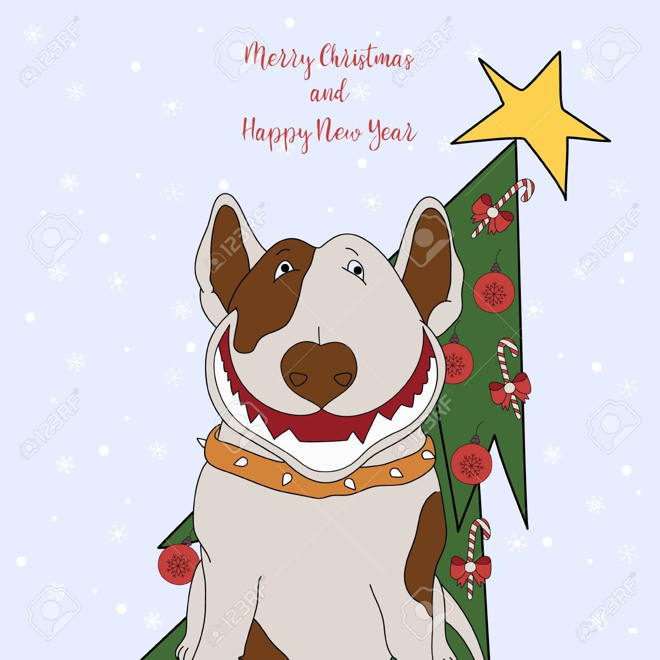 Joyeux Noel Et Bonne Annee Carte De Voeux De Dessin Anime Avec Un