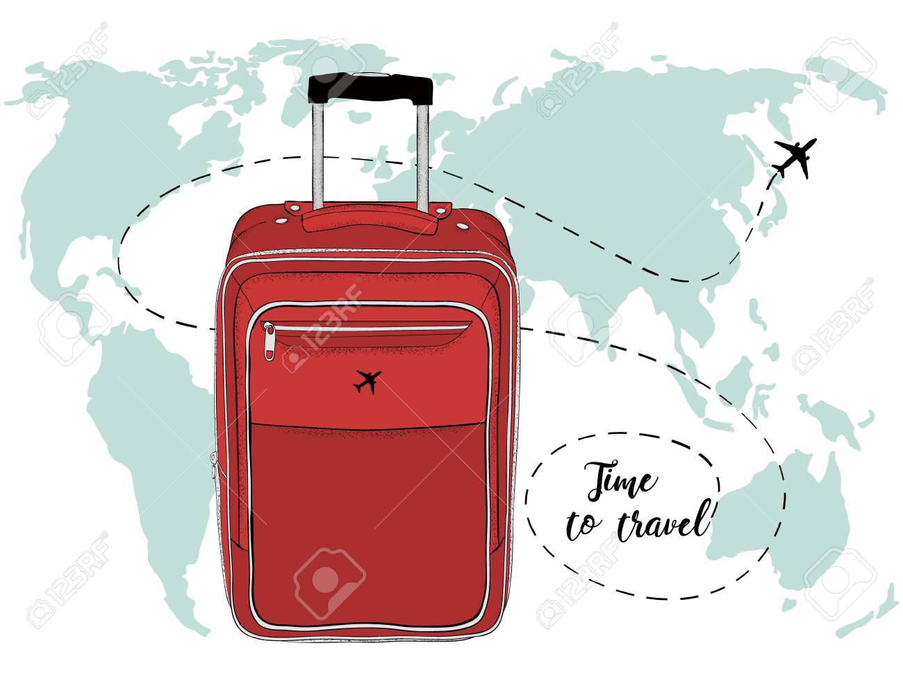 Vector banner with travel bag and world map royalty free cliparts vector vector banner with travel bag and world map gumiabroncs Gallery
