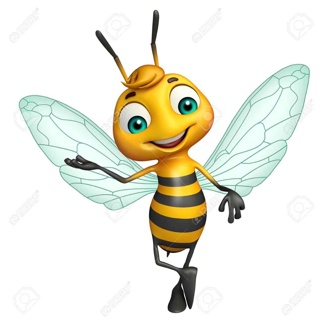 62895b15f 3d rendered illustration of Bee funny cartoon character Stock Illustration  - 53095365