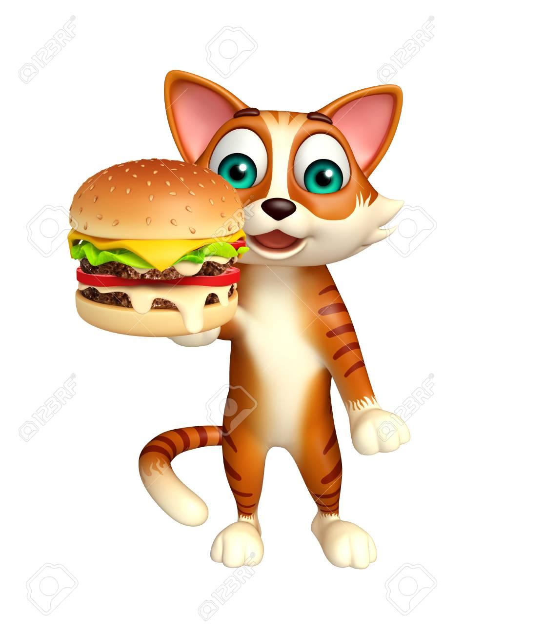 ハンバーガーの猫アニメ キャラクターの 3 D レンダリングされたイラストレーション