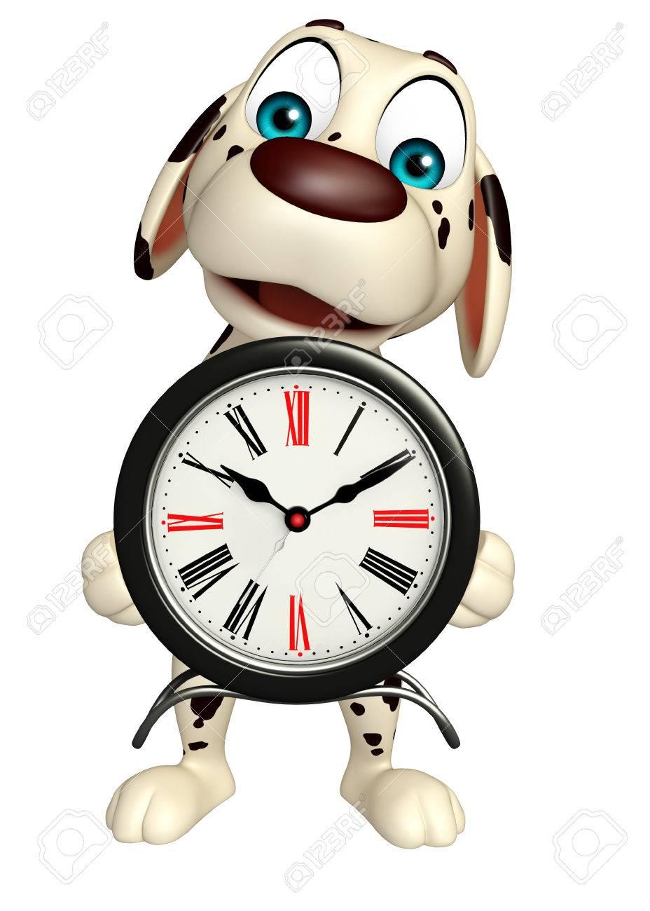 Reloj 3d Con Rindió Dibujos De Personaje La Animados Ilustración El Perro CrdhQsBtx