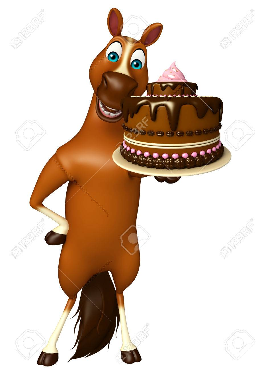 3d Rendered Illustration Of Horse Cartoon Character With Cake Stock Photo Picture And Royalty Free Image Image 53247978