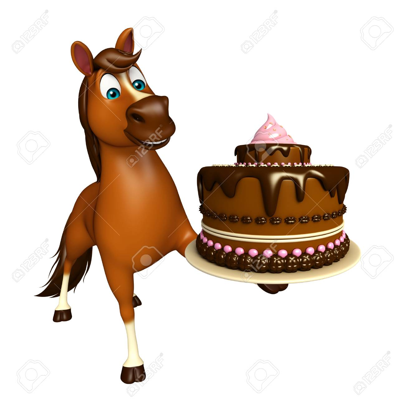 3d Rendered Illustration Of Horse Cartoon Character With Cake Stock Photo Picture And Royalty Free Image Image 53247663