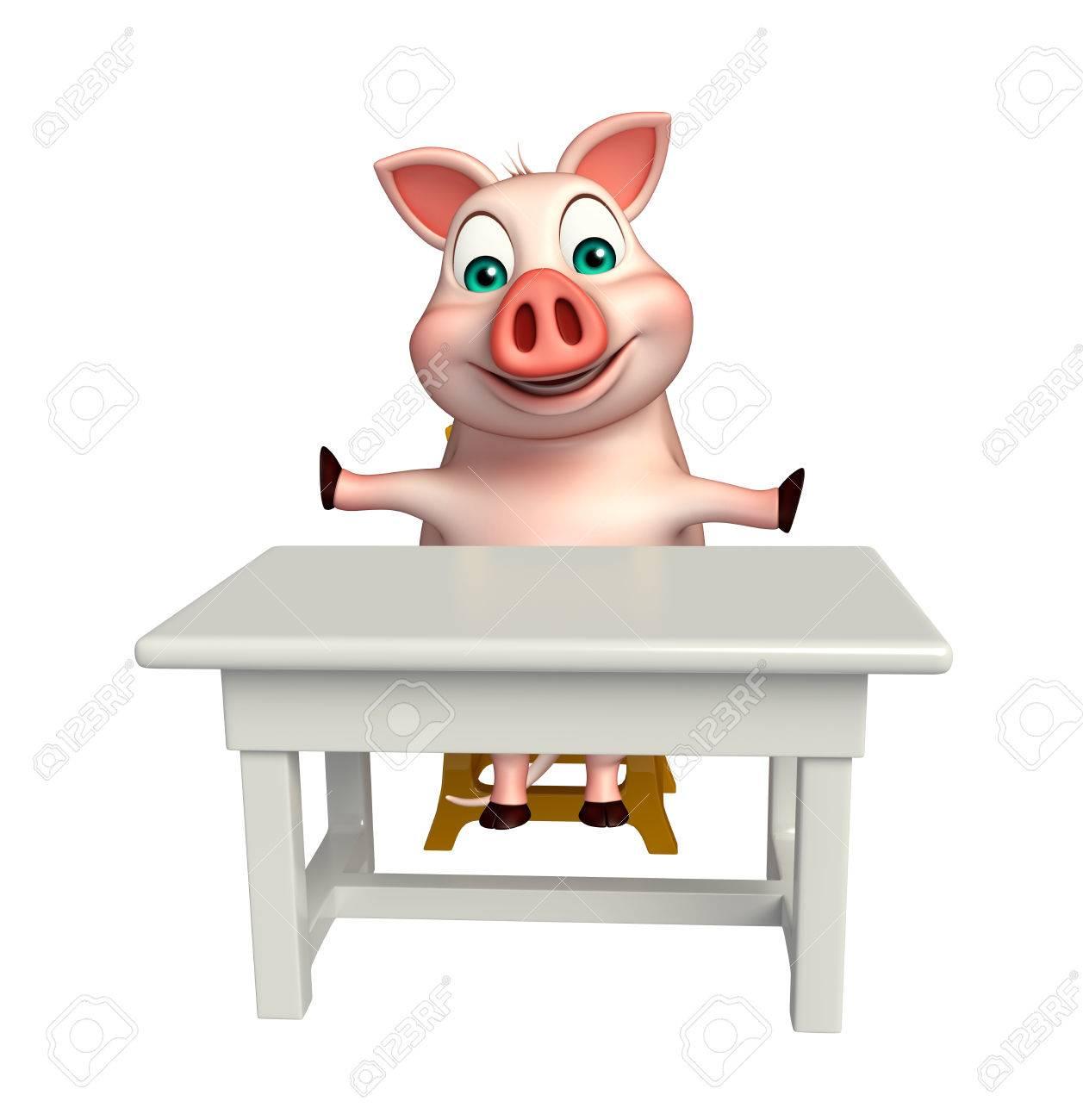 Stuhl comic  3D Gerenderten Bild Von Schwein Comic-Figur Mit Tisch Und Stuhl ...