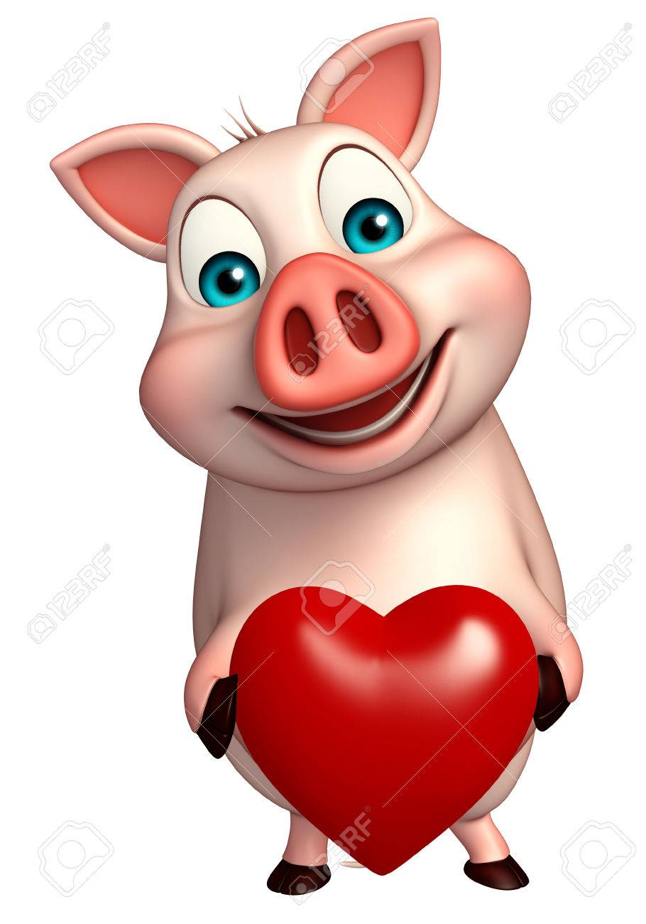 3d Rendered Illustration Of Pig Cartoon Character With Heart Stock