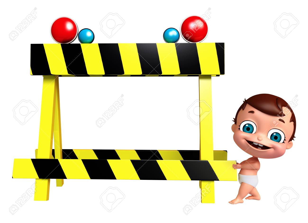 3d Render Of Baby With Barricade Stock Photo Picture And Royalty
