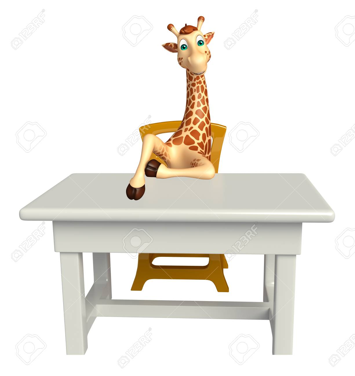 3d Rendered Illustration Of Giraffe Cartoon Character With Table And Chair  Stock Illustration   53994789