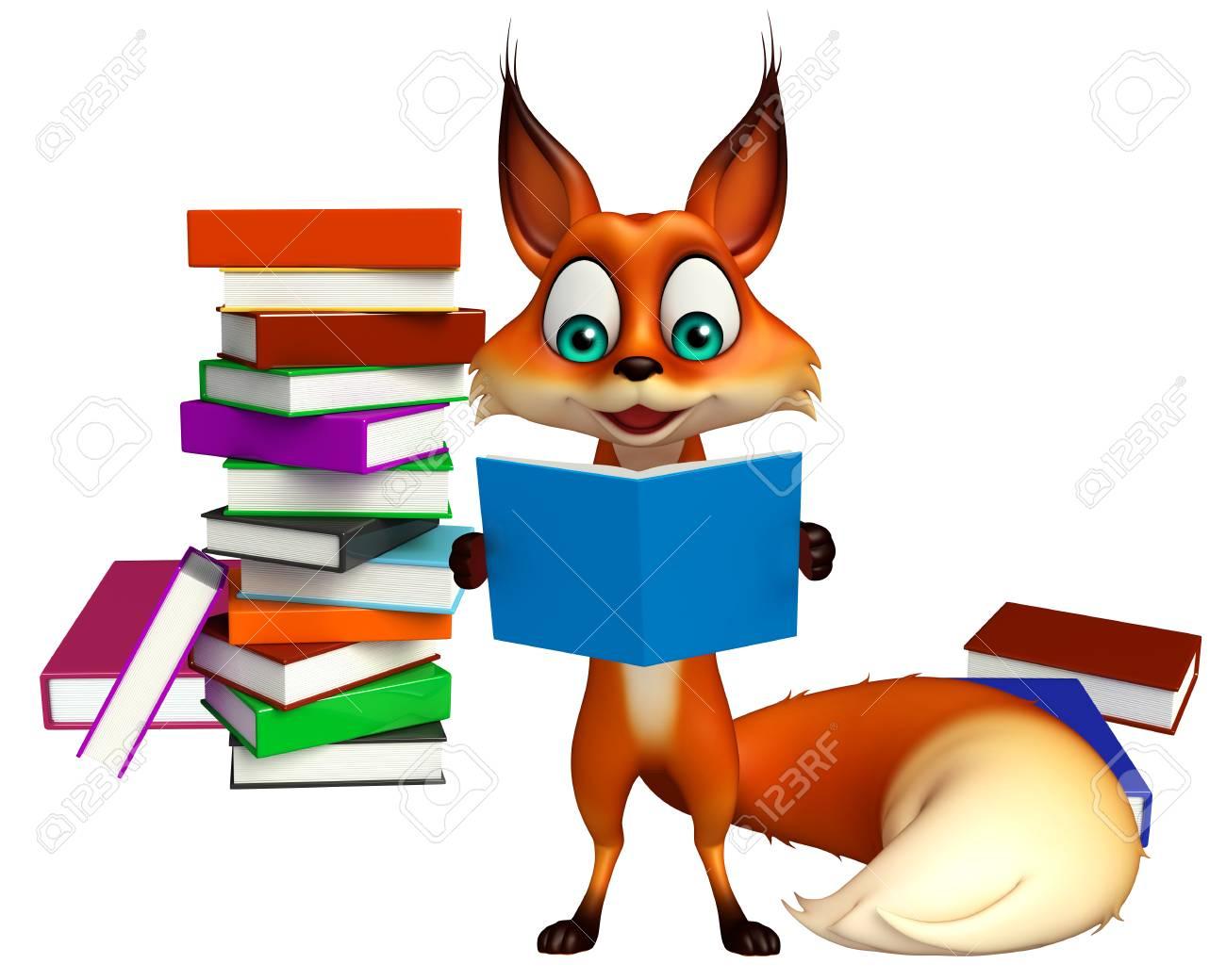 3d Rendu Illustration De Personnage De Dessin Anime Fox Avec Le Livre Pile