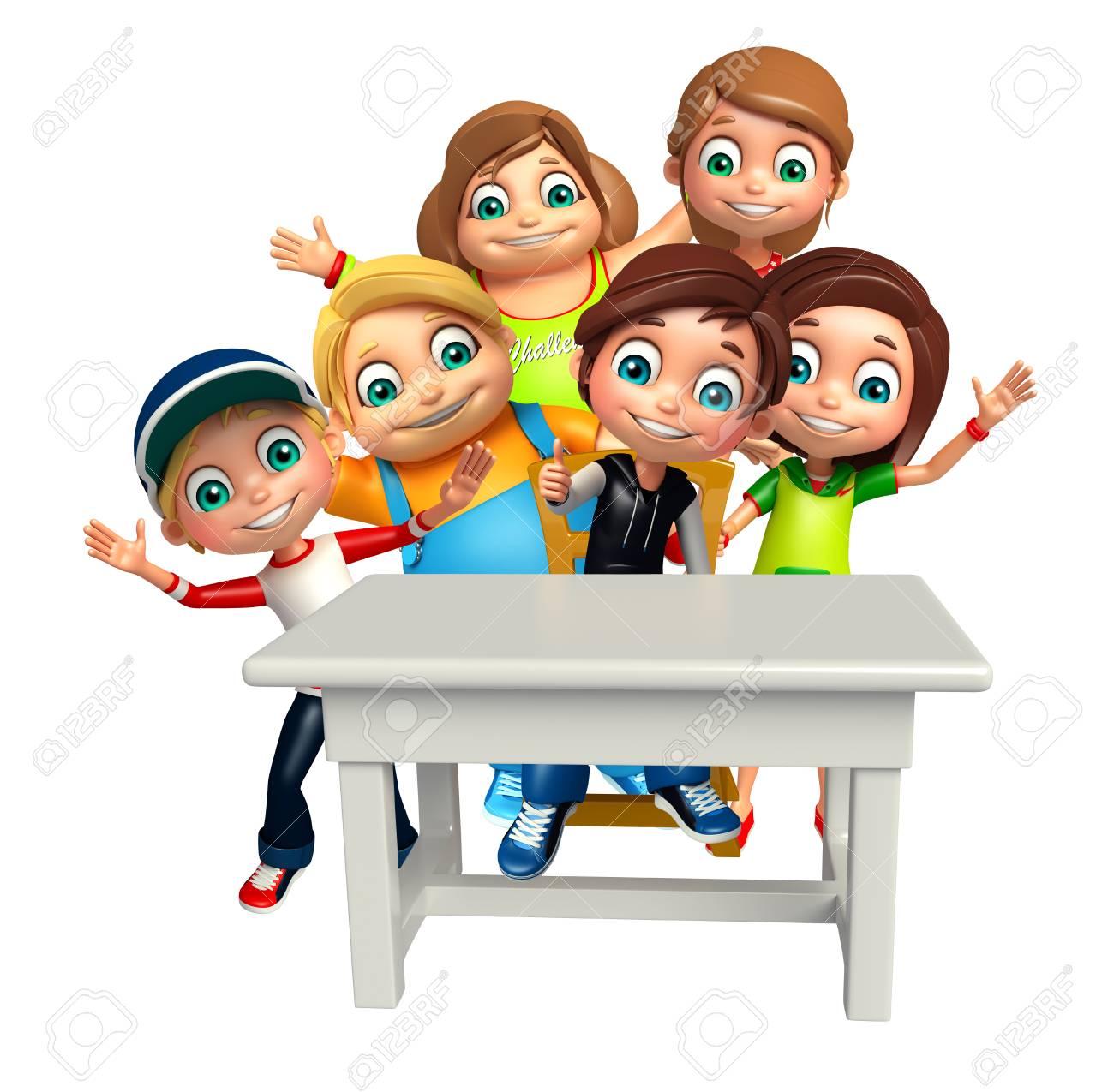 Enfant Fille Et Enfant Garçon Avec Table Et Chaise Banque Dimages