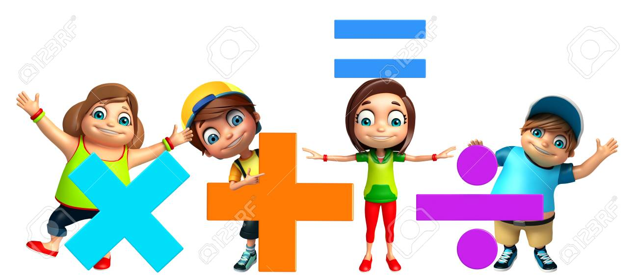 Kid Girl And Kid Boy With Math Signs Stock Photo, Picture And ...