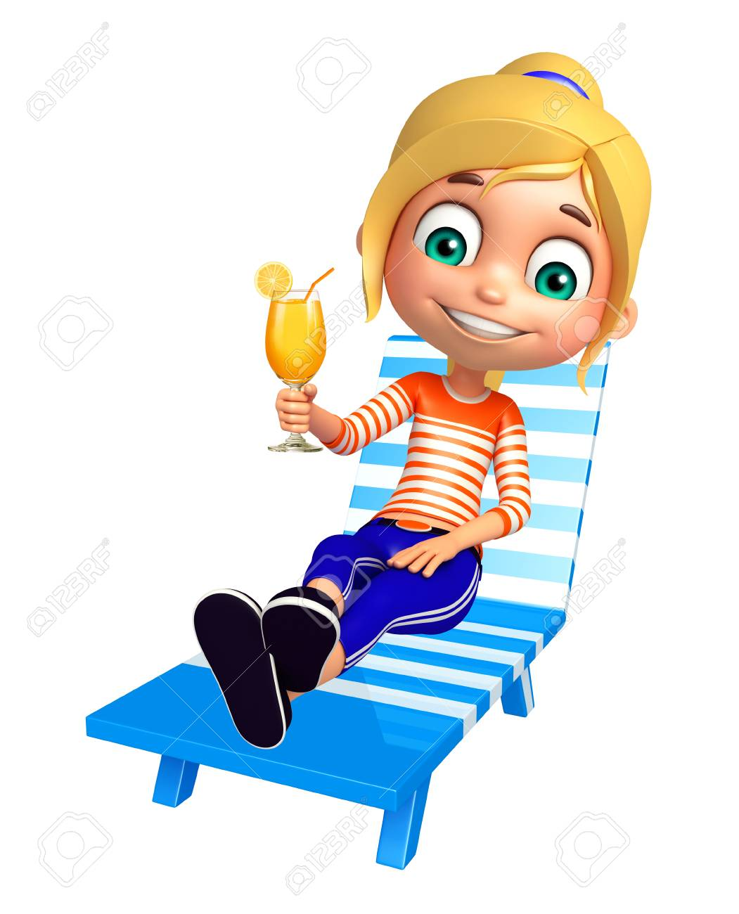 Strandkorb clipart  Kind Mädchen Mit Strandkorb Und Saftglas Lizenzfreie Fotos, Bilder ...