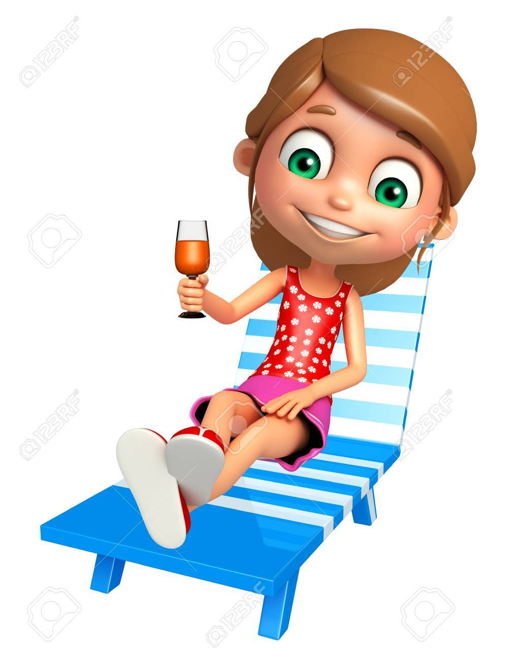 Kid Girl With Beach Chair And Juice Glass Stock Photo Picture And Royalty Free Image Image 65975953