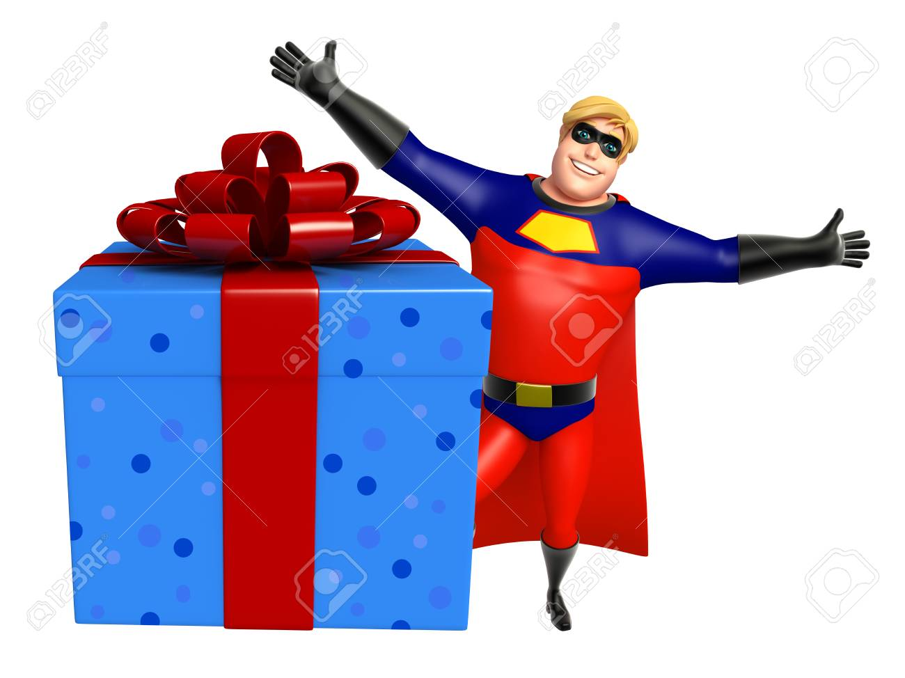 Superheroe Con Caja De Regalo Fotos Retratos Imagenes Y Fotografia