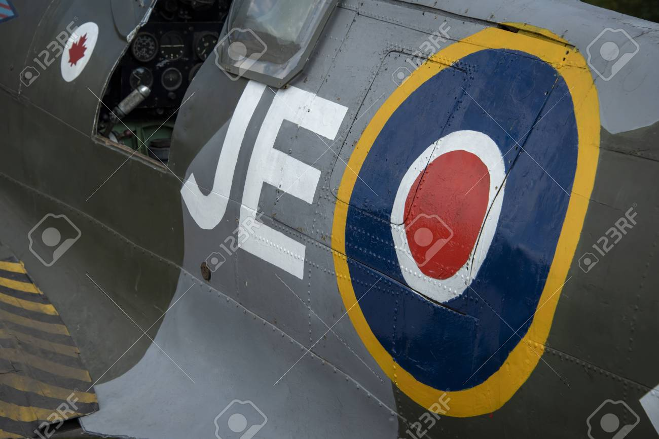 LEICESTERSHIRE,UK - JUNE 03 2018: Spitfire Mk. IX, serial no. EN398, JE-JPersonal aircraft of W/Cdr Johnnie Johnson, commanding officer of the Kenley Wing - Summer 1943 - 112863449