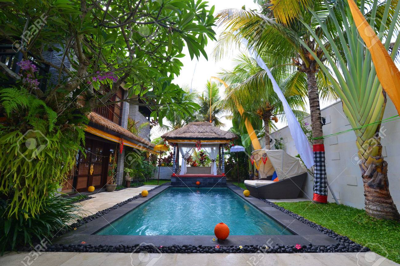 Modern tropical villa with swimming pool and celebration