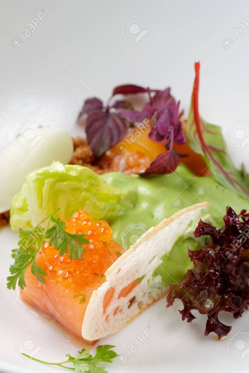 Fine Dining Starter With Salmon Tartare Caviar And Salad Stock Photo Picture And Royalty Free Image Image 31667335