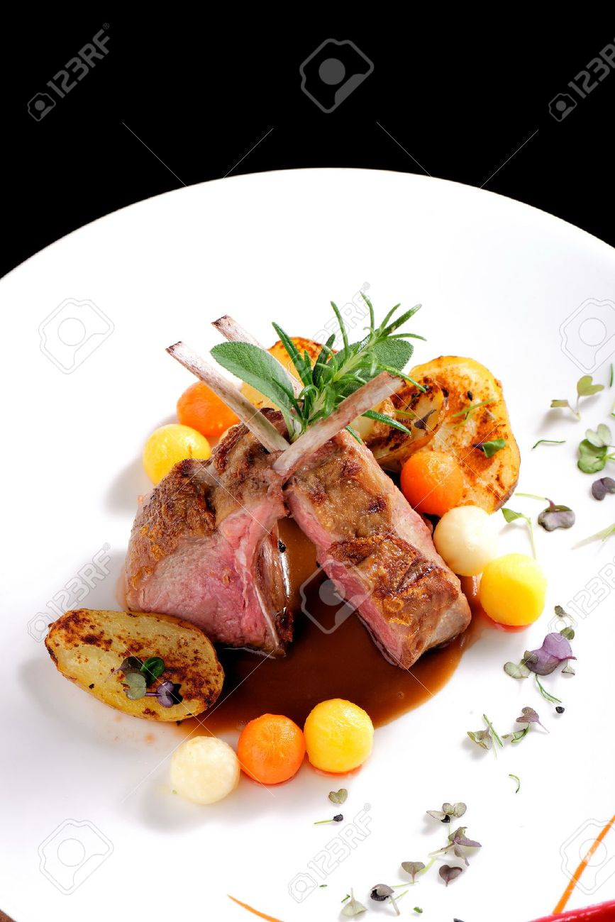 Fine Dining, Roasted Lamb Chops With Potato, Rosemary And Vegetable ... for Lamb Loin Fine Dining  181plt