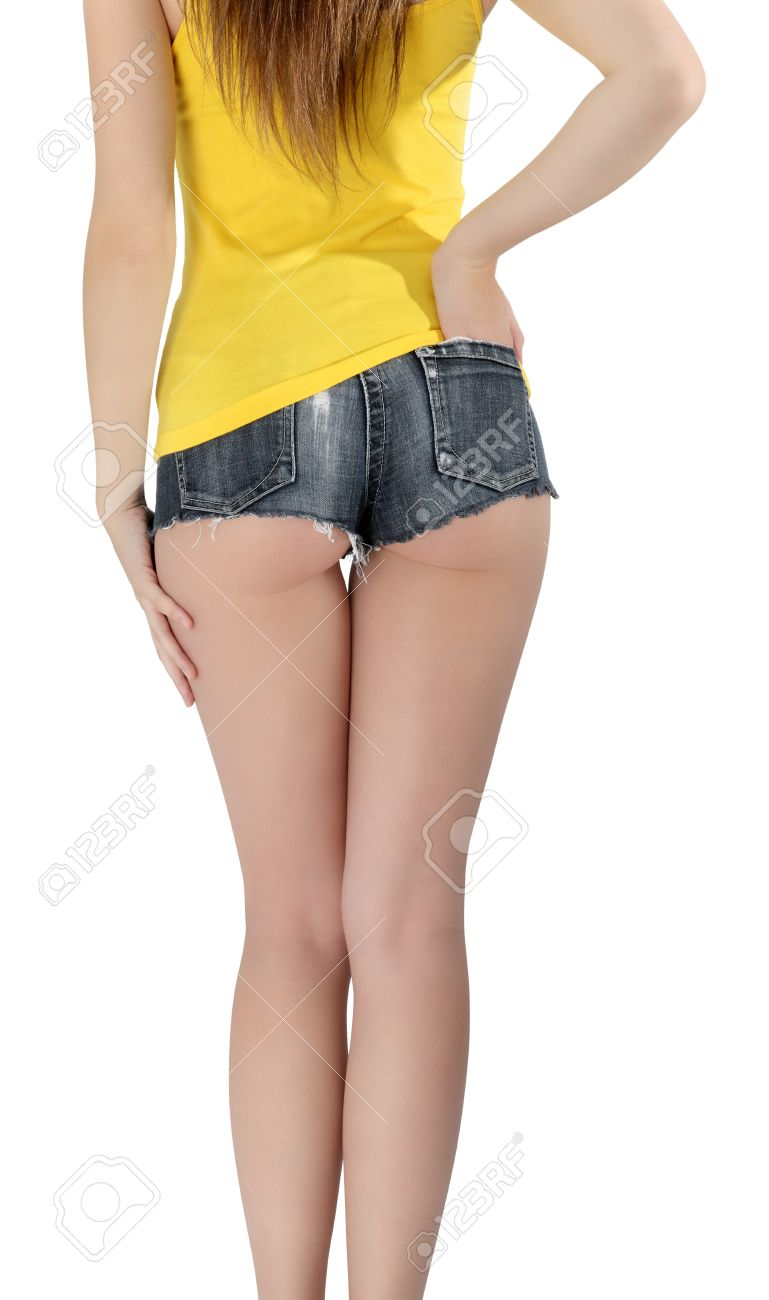 Ass Woman Wearing A Short Jeans Shorts With Yellow Tank Top Stock ...