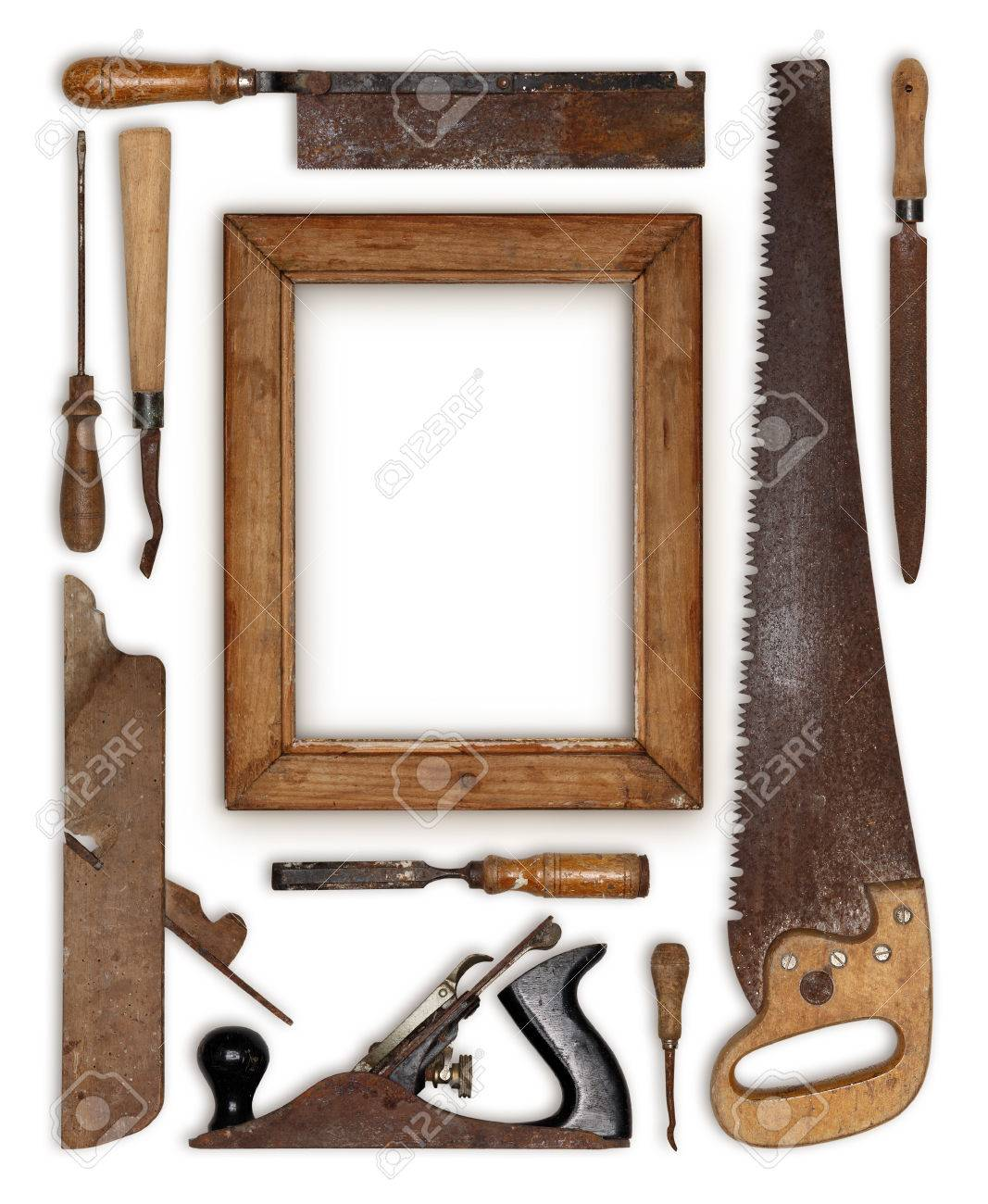 stock photo collage work wood tools carpenter forming a frame