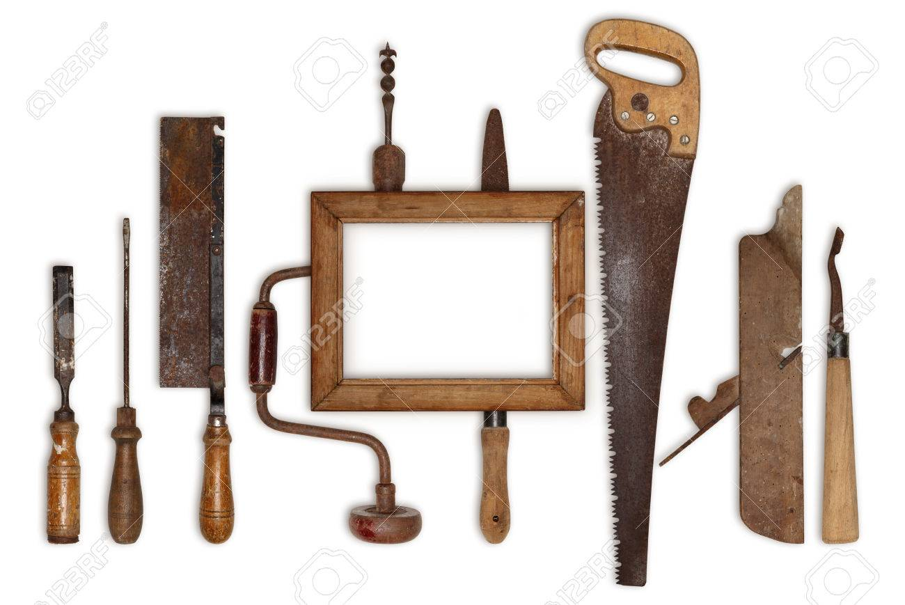 stock photo collage work wood tools carpenter and picture frame