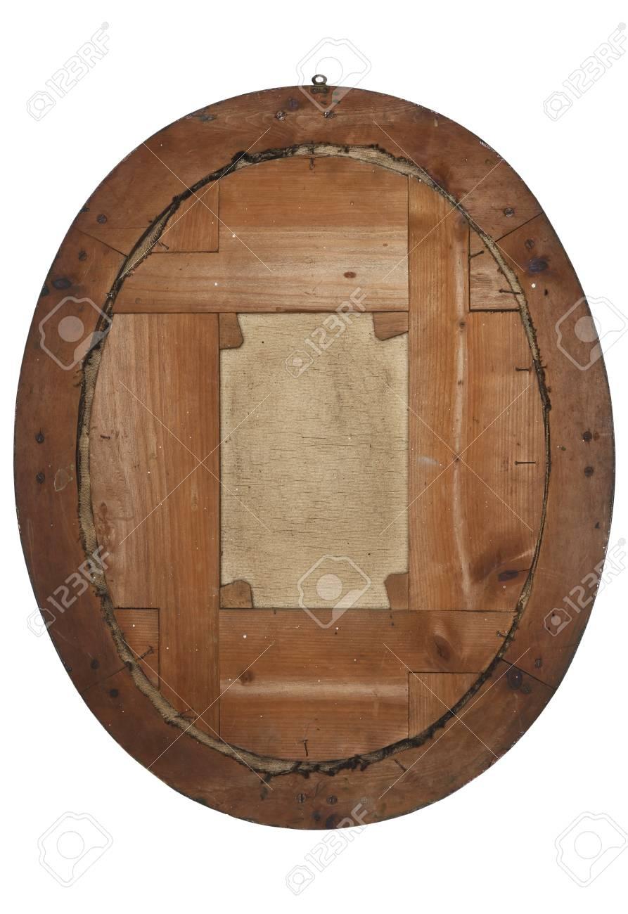 Rückseite Des Alten Bilderrahmen Aus Holz Auf Weißem Lizenzfreie ...