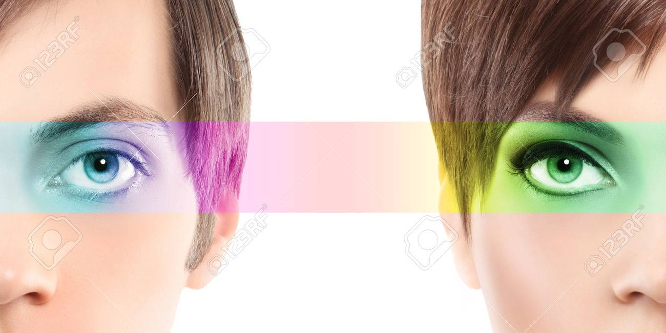 Oculistic Concept, Portrait Half Woman Half Man, Eyes Colorful.. Stock  Photo, Picture And Royalty Free Image. Image 47449506.