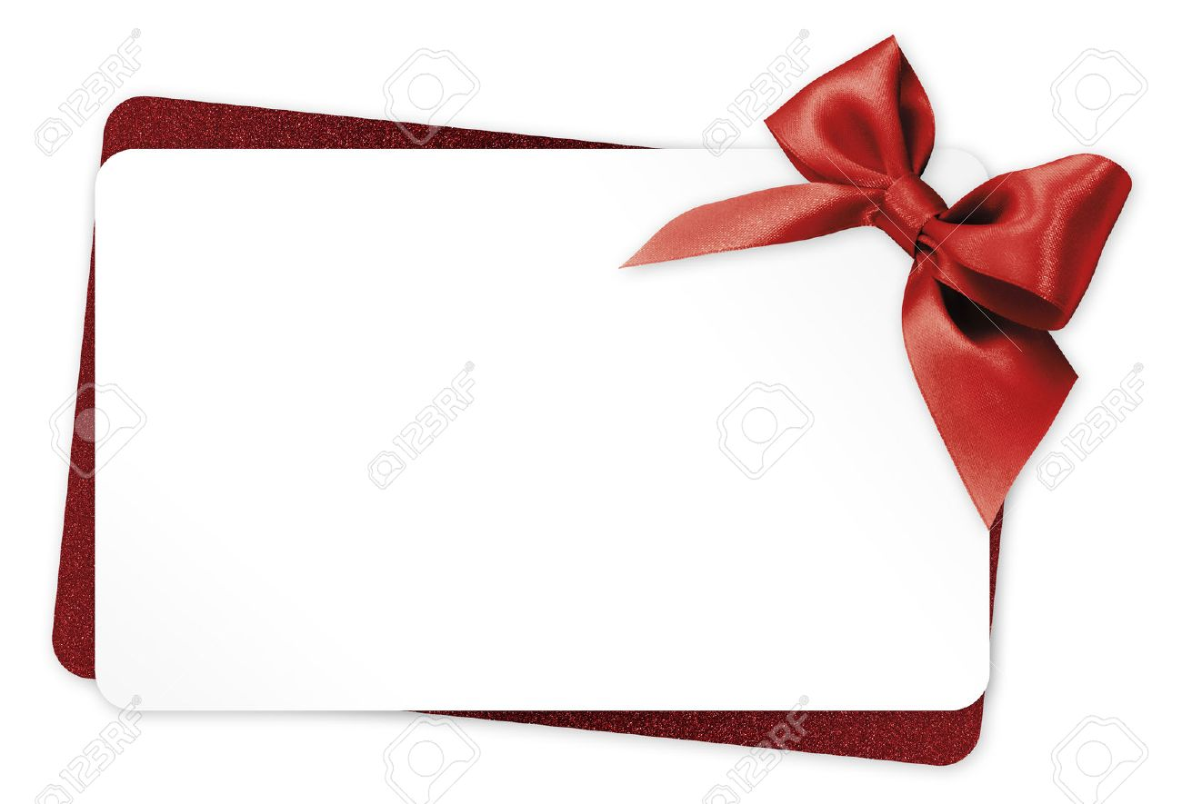 gift card with red ribbon bow Isolated on white background - 50574830