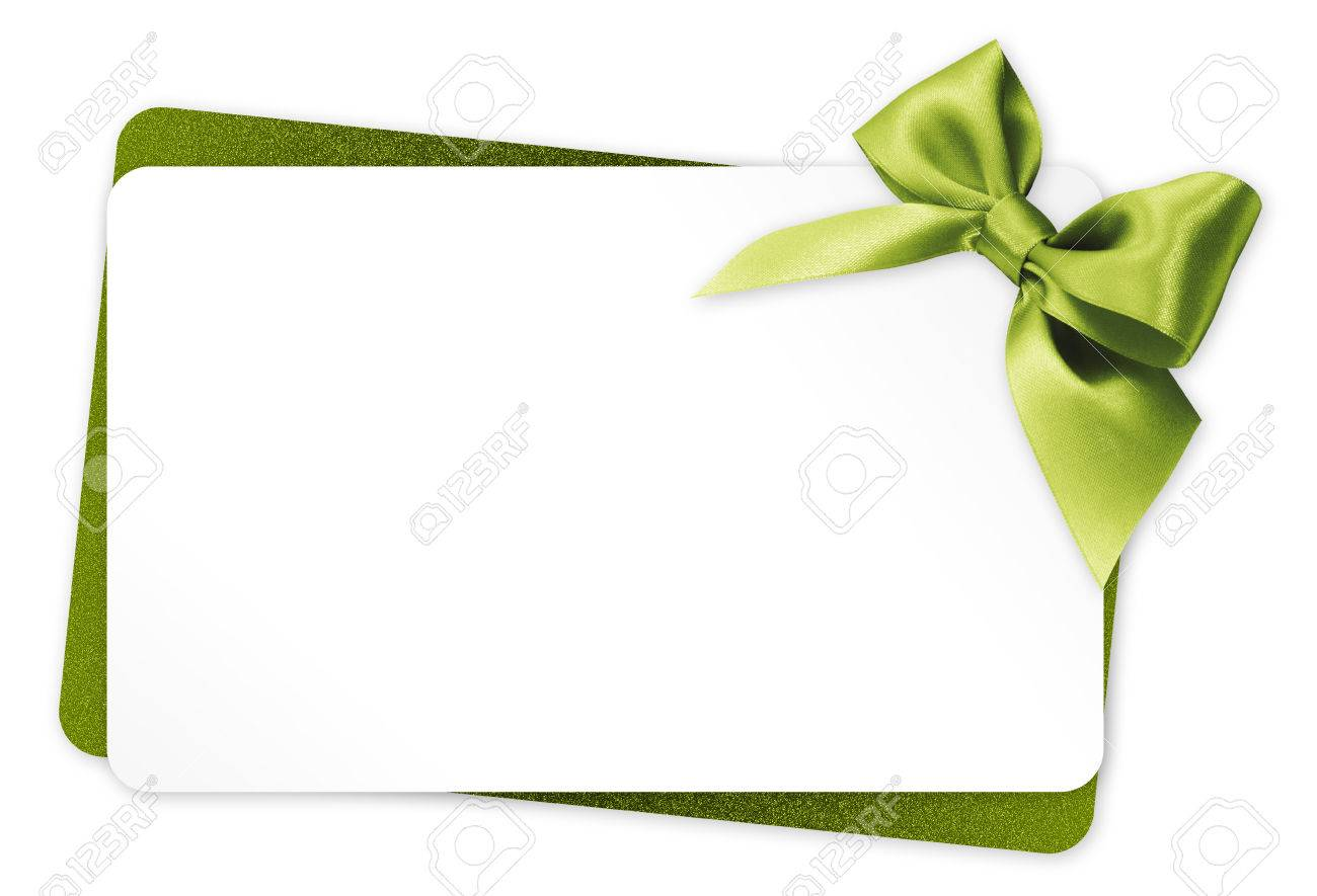 gift card with green ribbon bow Isolated on white background - 51402766