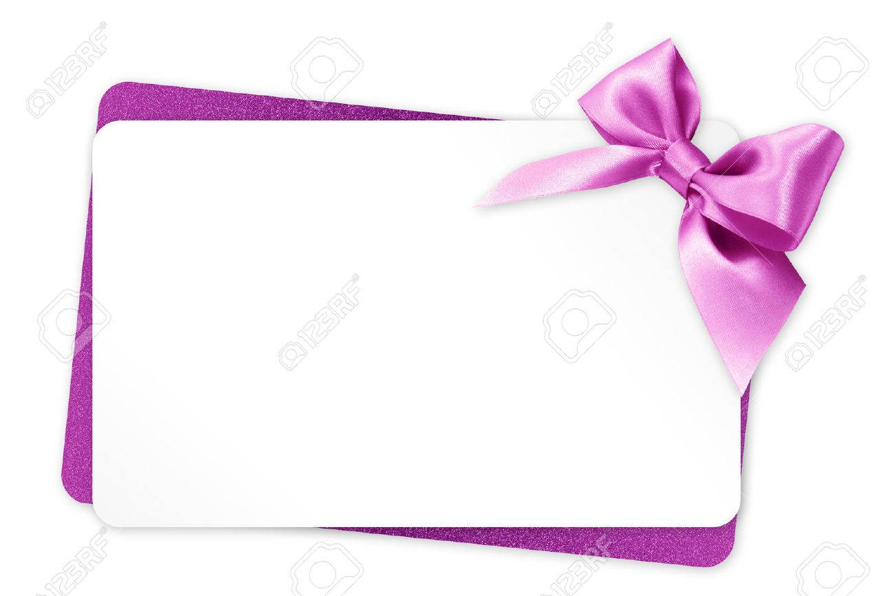 gift card with pink ribbon bow on white background - 57659477