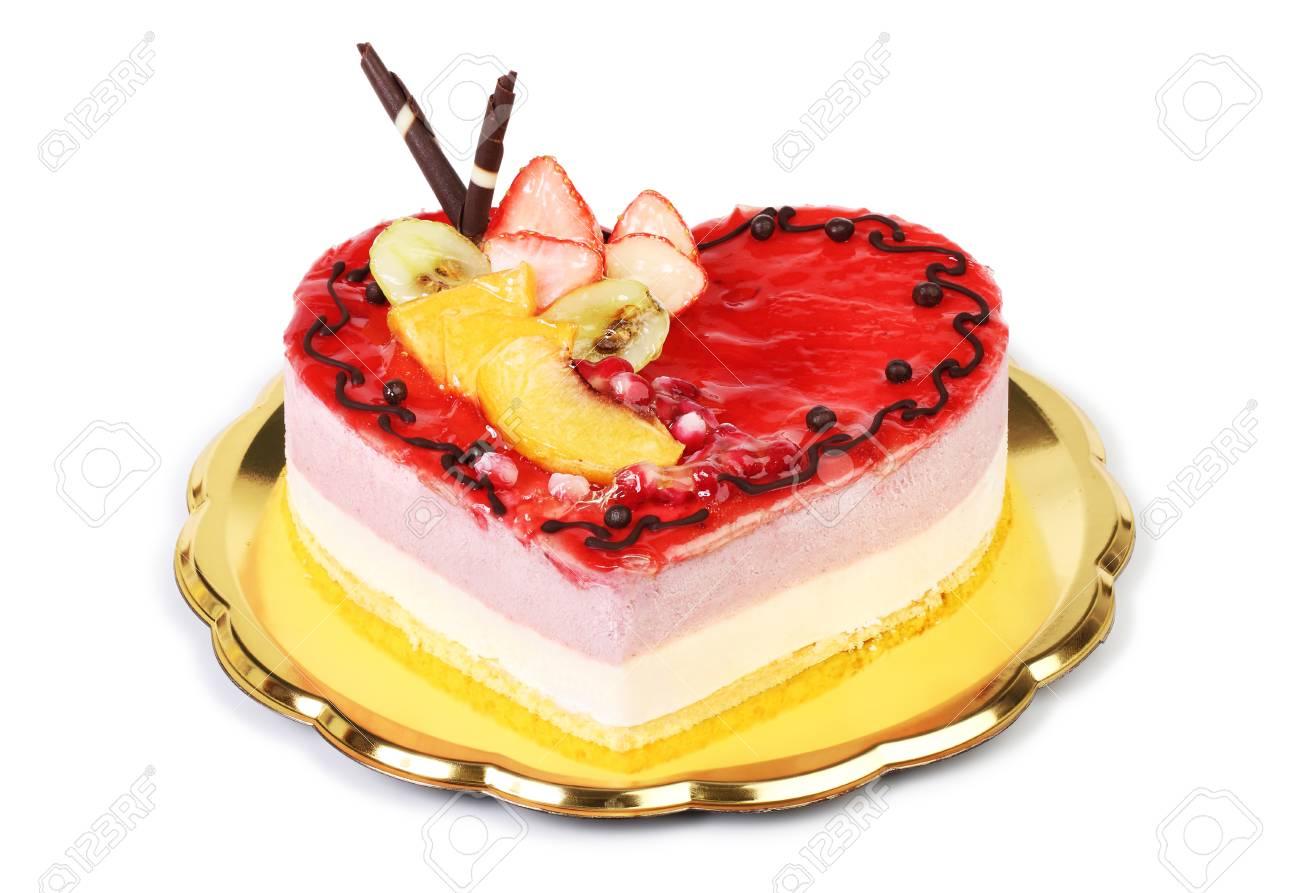 Kuchen Herz Geformt Erdbeereis Isoliert Auf Weissem Hintergrund