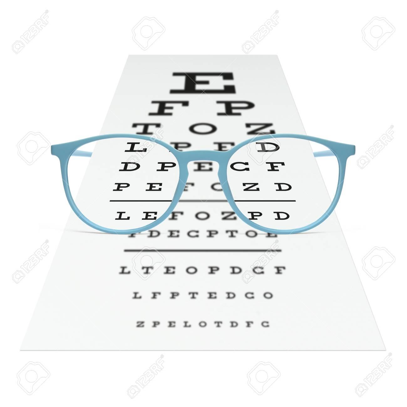 Blaue Brillen Auf Sichtprüfungsdiagramm Getrennt Auf Weiß. Sehkraft ...