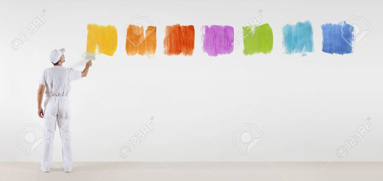 Painter Man With Paint Brush Painting Color Samples Isolated