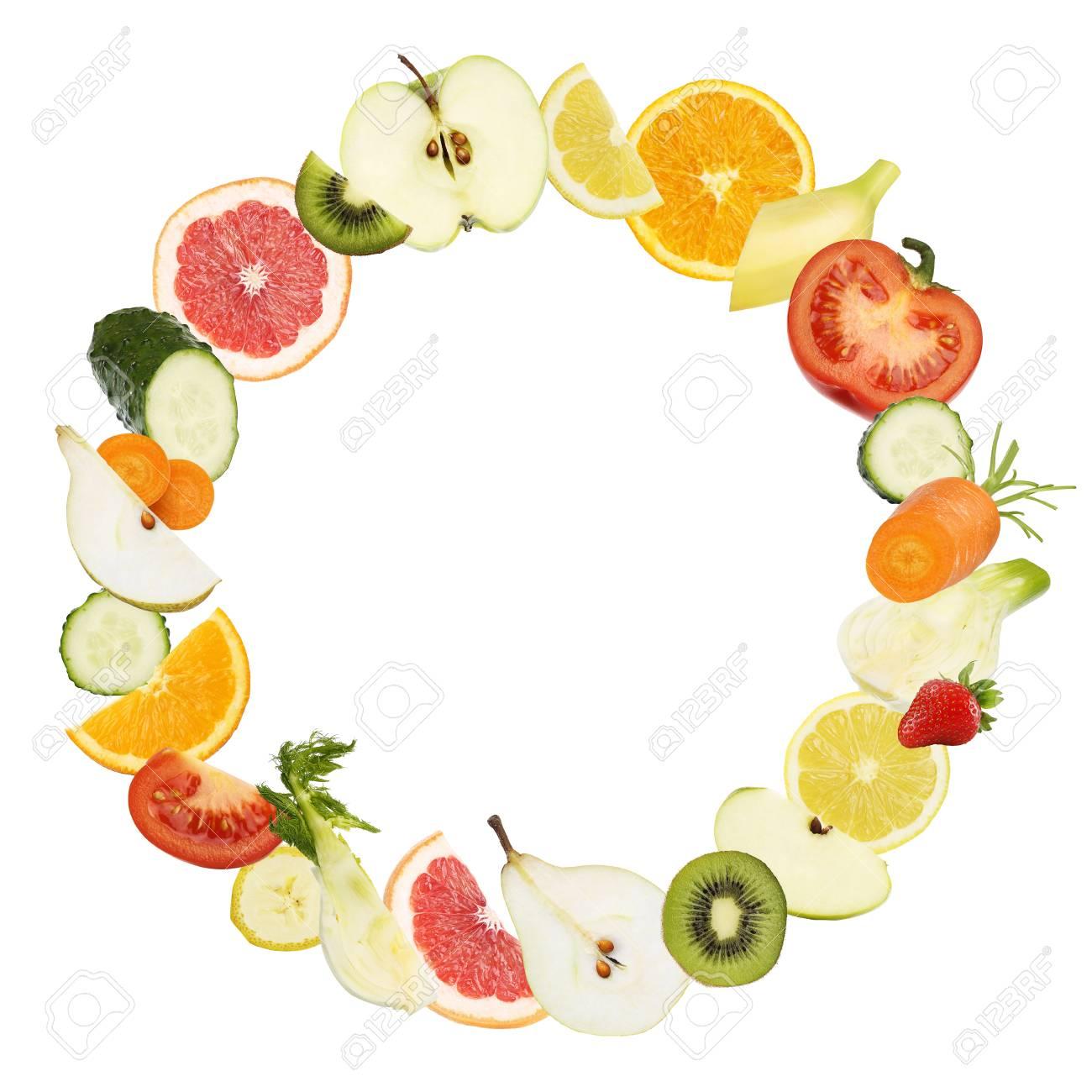 Früchte Kreisform Textur Gemüse Lebensmittel Diät Konzept Vorlage ...