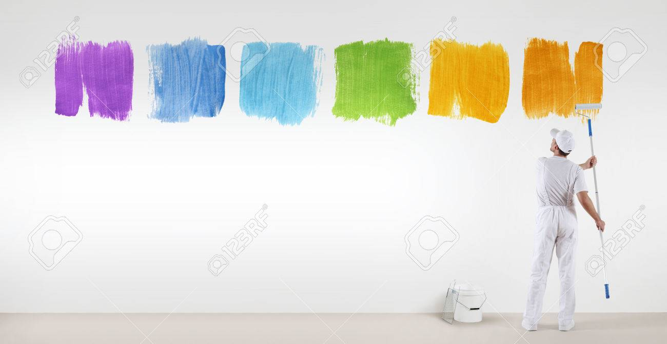 Painter Man Painting Varied Colors Symbol Isolated On Blank White
