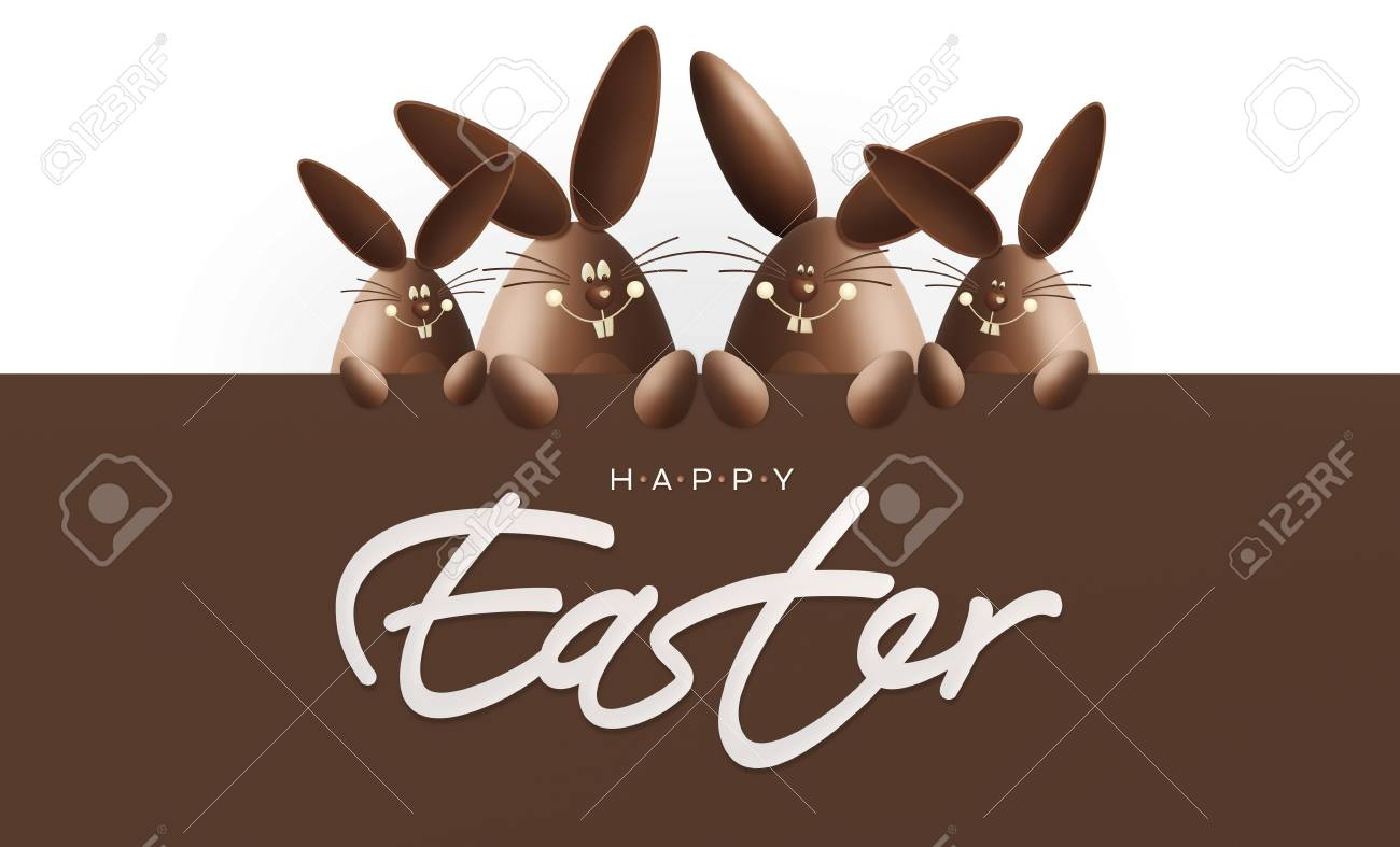 Happy easter chocolate funny bunnies showing the sign with text gift card banner template happy easter chocolate funny bunnies showing the sign with text isolated on white background negle Images