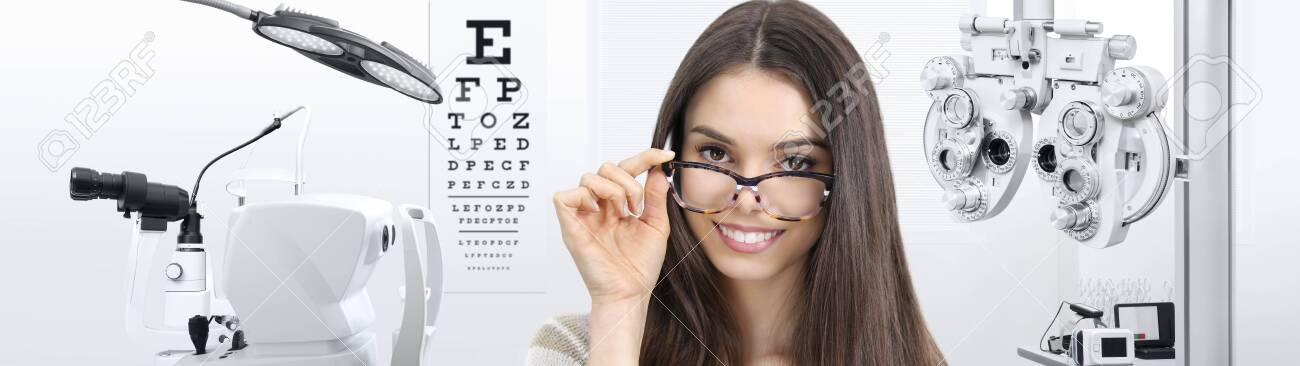 concept of eye examination, woman smiling with spectacles isolated on white background, prevention and control eyesight. - 132185379